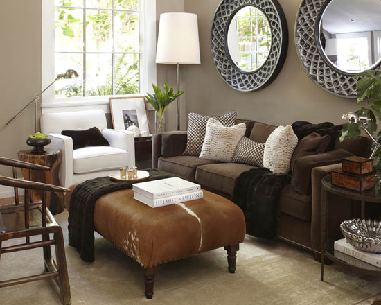 Too much brown furniture a national epidemic lorri for Dark brown couch living room ideas