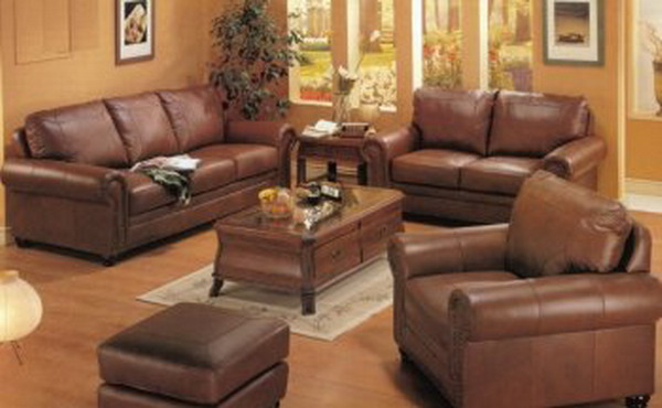 images of living rooms with brown leather sofas
