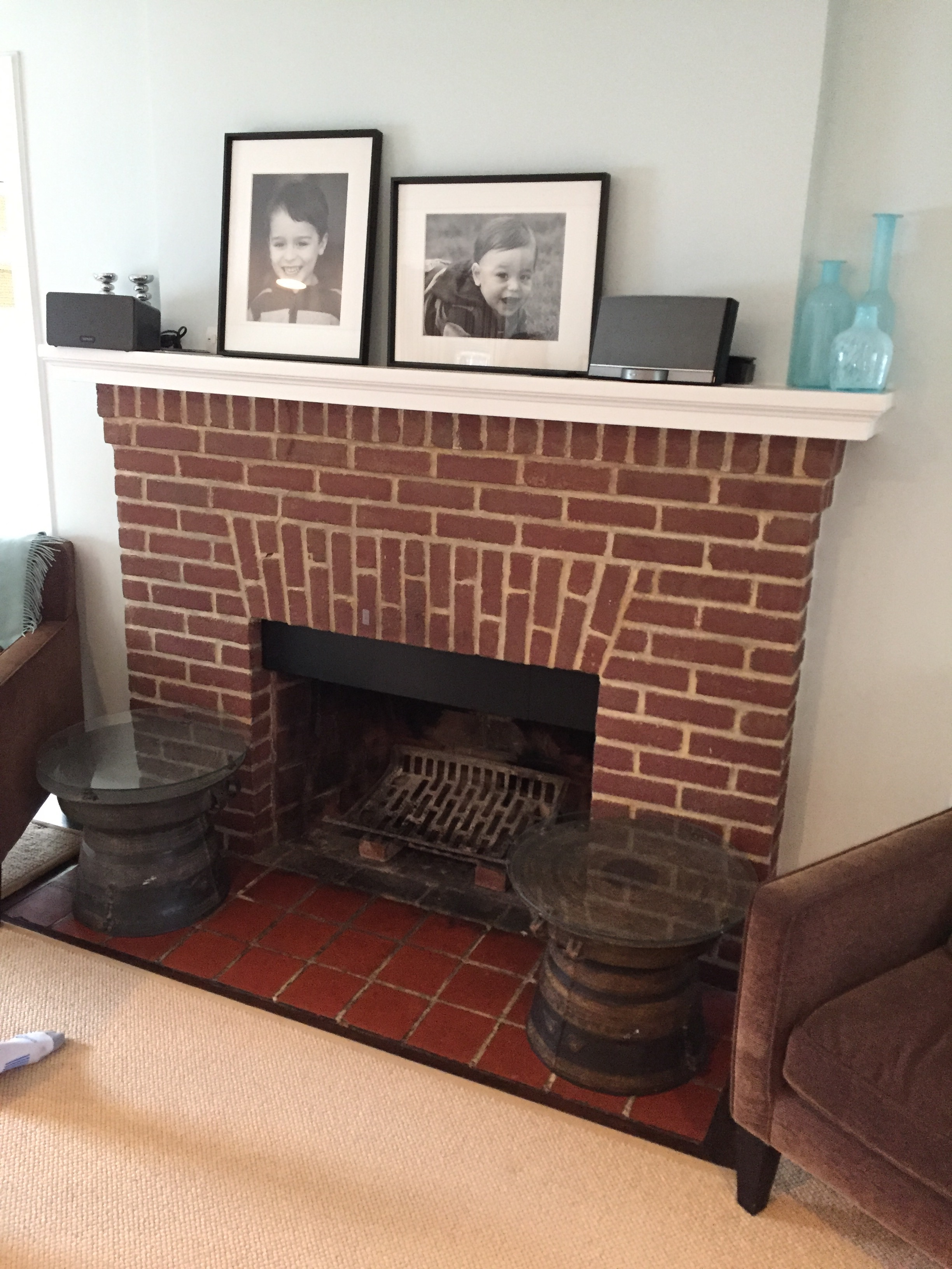 Painting Fireplace Tile White